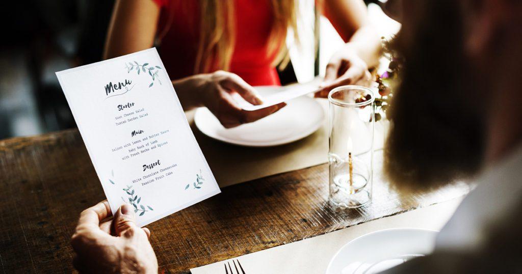 sito web per ristoranti - menù