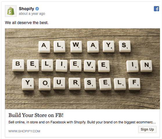 idea di campagna su Facebook: Shopify