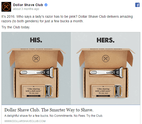 Idea di banner su Facebook: Dollar Shave Club
