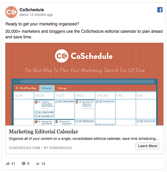 idea di campagna su Facebook: CoSchedule