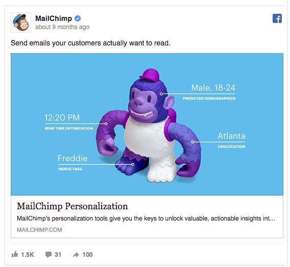 idea di campagna su Facebook: MailChimp