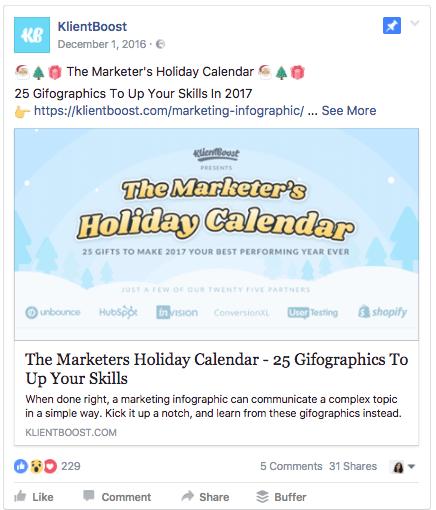 idea creativa per pagina Facebook: KlientBoost