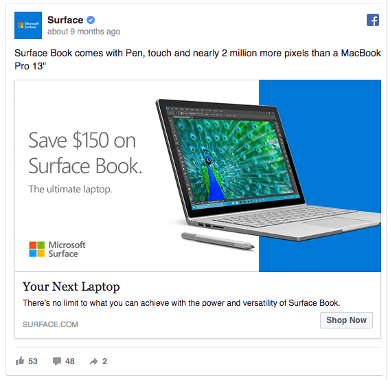idea creativa per pagina Facebook: Microsoft Surface