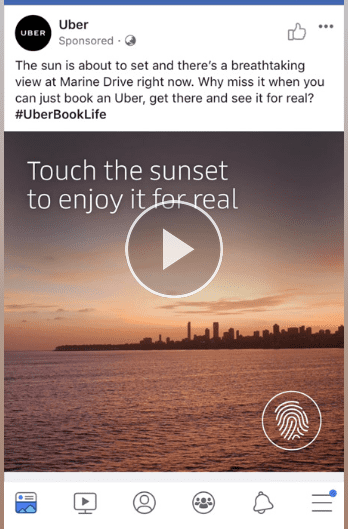 idea creativa per pagina Facebook: Uber