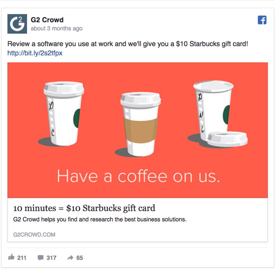 idea di campagna marketing su Facebook: G2 Crowd