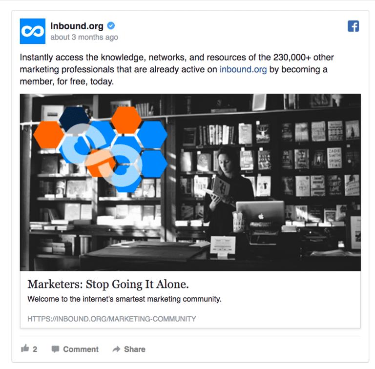 campagna su Facebook di Inbound.org