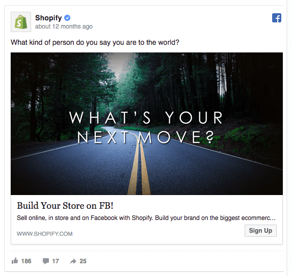 idea di campagna marketing su Facebook: Shopify