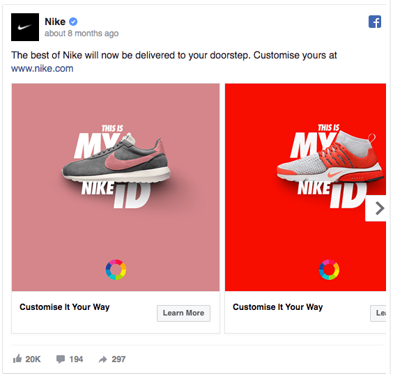 idea per un post su Facebook: Nike