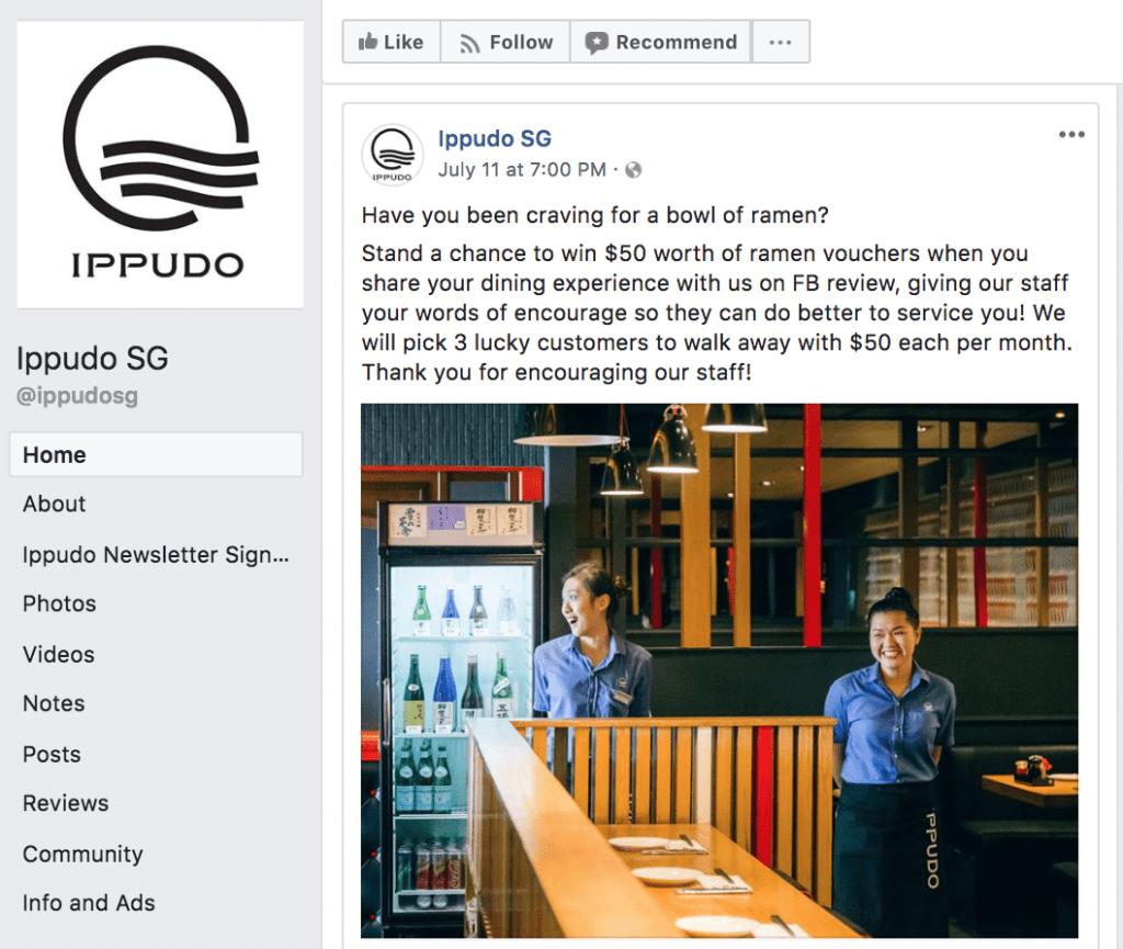 idea di sondaggio su Facebook: scrivi una recensione sul nostro locale