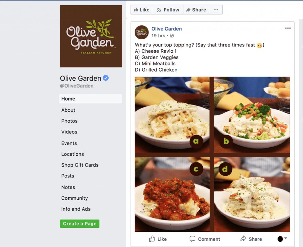 idea di sondaggio su Facebook: quale piatto preferisci?