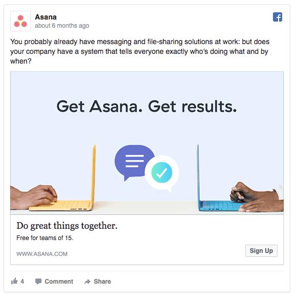 idea per un post su Facebook: Asana