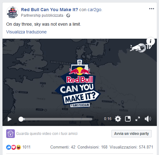 idea di contest su Facebook: Red Bull Can You Make It?