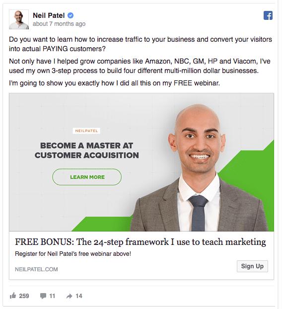 Idea da pubblicare su Facebook: Neil Patel