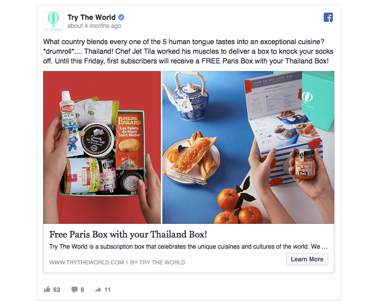 idea di campagna marketing su Facebook: Try The World