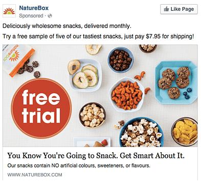 campagna pubblicitaria su Facebook di Nature Box