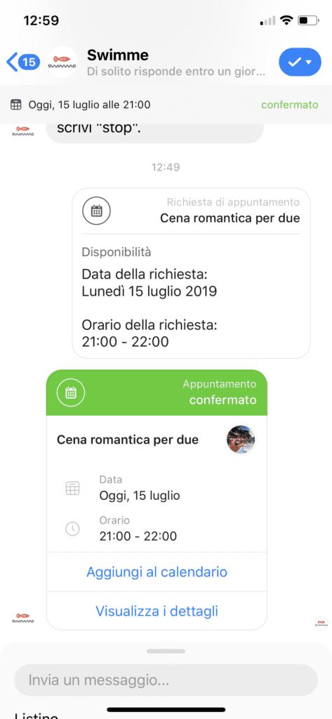 Appuntamento confermato su Facebook Messenger