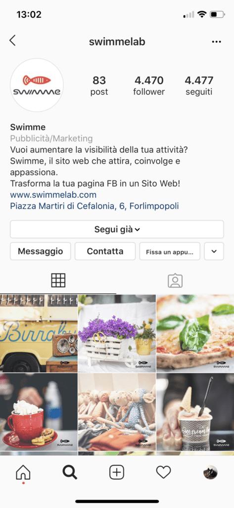 Pulsante Fissa un appuntamento visibile tra i contatti del profilo Instagram