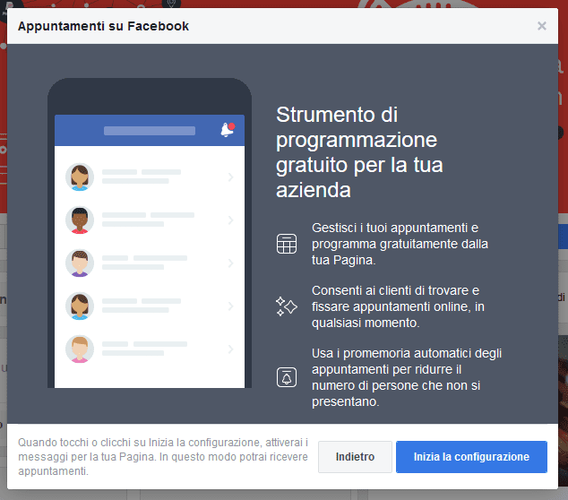 Strumento di programmazione gratuito per la tua azienda - Appuntamenti su Facebook