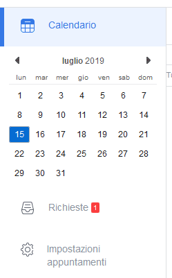 Notifica richiesta appuntamento in Calendario