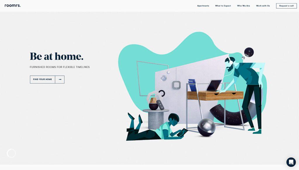trend grafica sito web con illustrazioni