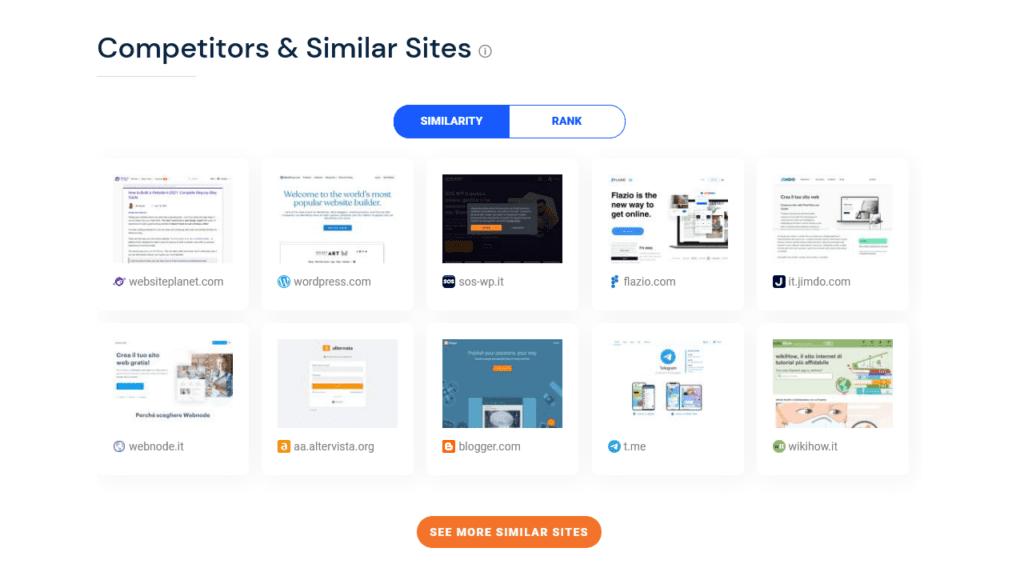 competitor e siti simili su Similarweb