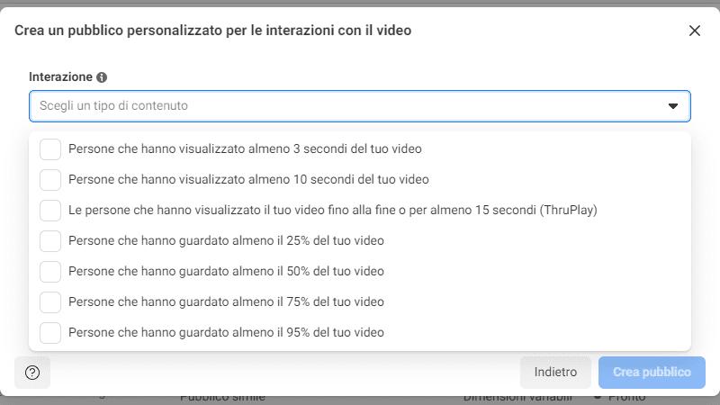 crea un pubblico personalizzato per le interazioni con il video