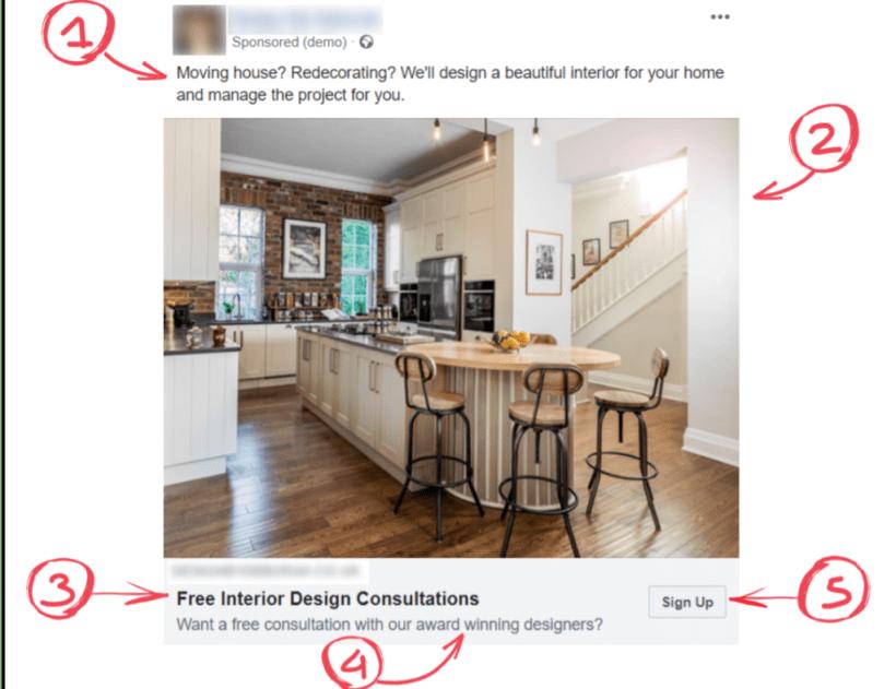 pubblicità su Facebook per un interior designer
