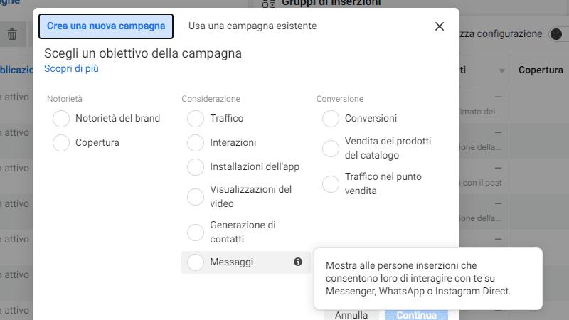 obiettivo della campagna considerazione messaggi