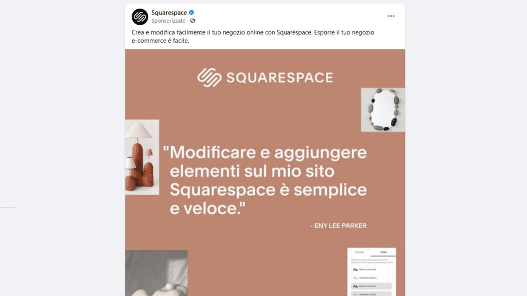 post sponsorizzato di un concorrente su Facebook